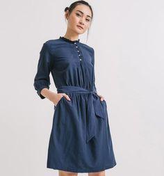 Cotton dress navy blue - Promod