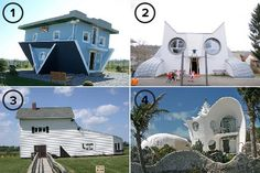 The World's Most Unusual Homes: Upside Down House, Cat House, Shoe House & Shell House
