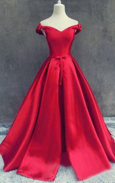 Charming Prom Dresses,Off the Shoulder Red Prom Dress,Evening