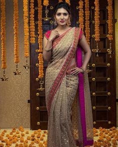 Tag your picture with to get featured on this page . Fancy Sarees, Party Wear Sarees, South Indian Wedding Hairstyles, Sarees For Girls, Saree Poses, Wedding Saree Collection, Dress Indian Style, Indian Wear, Bridal Silk Saree