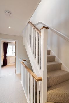 flooring drawing Contemporary living over three floors with open plan kitchen, living, dining, first floor drawing room and three bedrooms, master en-suite. Staircase Banister Ideas, House Staircase, Staircase Makeover, Staircase Design, Staircases, Bannister, Loft Conversion Stairs, Loft Conversions, Oak Handrail