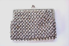 Vintage ITS IN THE BAG RITTER Silver Metallic Beaded SMALL Purse Mod Chic ITALY #Ritter #EveningBag #SpecialOccasion
