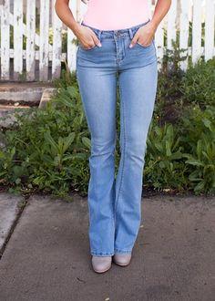 Online boutique. Best outfits. Light Denim Flare Bottoms Jeans - Modern Vintage Boutique