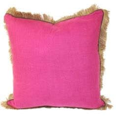 Lacefield Orchid Linen Jute Fringe Throw Pillow