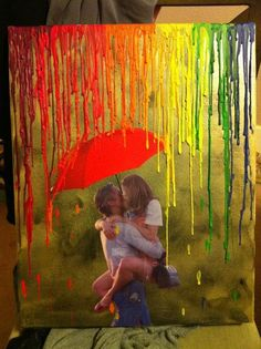 Love in Rain - Cool Melted Crayon Art Ideas, http://hative.com/cool-melted-crayon-art-ideas/,