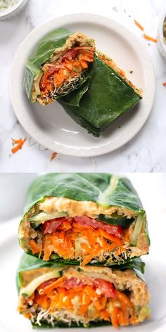 These healthy Quinoa & Veggie Collard Wraps are super easy to make and jam-packed with tons of goodies! They're low calorie, but still full of protein and healthy fats so they'll keep you nice and full! Such a healthy lunch idea for busy days! Plant Based Diet, Plant Based Recipes, Raw Food Recipes, Dinner Recipes, Chicken Recipes, Super Food Recipes, Beef Recipes, Anti Candida Recipes, Zucchini Pasta Recipes