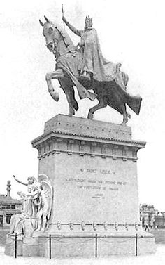 """More than 100 sculptors produced over 1,000 major sculptures for the Fair buildings and grounds. They included the equestrian Statue of St. Louis IX titled """"The Apotheosis of St. Louis"""". This beautiful monument was recast in bronze after the Fair and given to the City of St. Louis by the Louisiana Purchase Exposition Company. It was placed in front of the Art Museum, overlooking Art Hill and the Grand Basin. For decades this statue was used as the symbol of St. Louis, until the Gateway Arch…"""