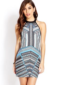 Bold Abstract Geo Halter Dress | FOREVER21 - 2000070645