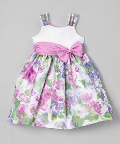 Love this Lilac & White Floral Bow Dress - Toddler & Girls by Jayne Copeland on #zulily! #zulilyfinds