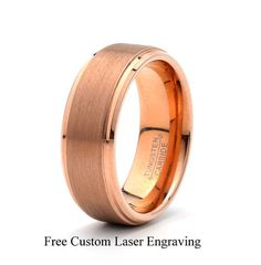 Rose Gold plated Tungsten Carbide Wedding Band 8mm by carat323