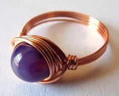Purple Agate Ring Purple Stone Ring Copper Wire by PepperandPomme