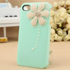 Bling iPhone 4 case, iPhone 4s case - Pearl Crystal Flower