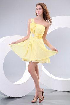 A-Ligne Robes De Demoiselles D'Honneur Jaune Drapé rs2770 - Tissu: Mousseline De Soie; Décolleté: Une Épaule; Silhouette: Une Ligne-; Fermeture: Sans Dossier - Price: 121.9900 - Link: http://www.robesoirees.com/a-ligne-robes-de-demoiselles-d-honneur-jaune