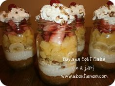 No Bake Banana Split Cake In A Jar. I think this would work great for a buffet. If the pint jars are too large, just use those small jelly jars.