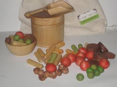 Pasta in a bag set  Play kitchen wooden food by KatandCompany, $20.00