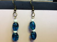 Blue Glass Bead Earrings by aircooledclothes on Etsy, $15.00