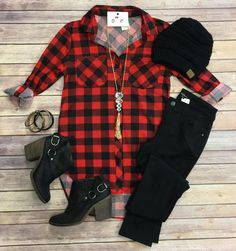 What I like about you Plaid Flannel Top: Red/Black