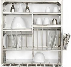 Wall-Mounted Drying Rack for the Dishes |   wall mounted dish dryer display rack stainless steel at amazon by RBJ with rust proof finish and long lasting quality with drainage holes for water drainage |    http://philanthropyalamode.com/wall-mounted-drying-rack-dishes
