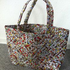 bag made out of plastic...small totes for produce but out of rectangles and squares