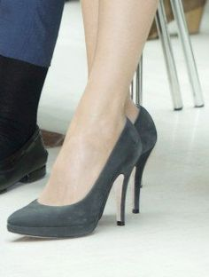 Magrit charcoal suede platform pumps. Debuted Oct 2014