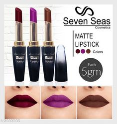Lipsticks Seven Seas 4G Matte Lipstick(Pack of 3) Product Name: Seven Seas 4G Matte Lipstick(Pack of 3) Brand Name: Seven Seas Product Type: Lipstick Capacity: 5gm Each Finish Type: Matte Product Description: Applicator: CrayonSeven seas cosmetics makeup 4g matte lipstick Waterproof and super long-lasting. Give you a sexy experience. It's silky exquisite and elegant make up your lips lightly suitable for all seasons makeup especially in the office dating shopping summer party with friends. This is a very convenient very beautiful lip makeup set easy to wear. SAFE FOR LIPS: They are super matte with no chemicals that they don't irritate your lips. We recommend using lip cleansing oil while removing it BEST FOR GIFTS: Gift this colourful lipstick set to someone special. It can be the best gift for your sister wife mother friend or relatives Package Contains: It Has 3 Pack Of Lip Care Lipstick Country of Origin: India Sizes Available: Free Size   Catalog Rating: ★4 (428)  Catalog Name: Seven Seas 4G Matte Lipstick闁肩⒈鍋夌亸鍐嚍閹烘垹鈧?Combo Vol 2 CatalogID_407143 C171-SC2005 Code: 632-2983995-594