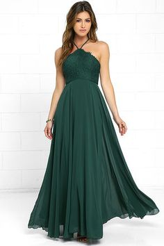 Lulus Exclusive! The Everlasting Enchantment Dark Green Maxi Dress will have admirers under your spell! Adjustable spaghetti straps support a lacy halter bodice, then crisscross at back. Layers of chiffon sprout from a fitted waist, then sweep down to an elegant maxi length. Hidden back zipper with clasp.