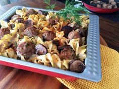 A take on the classic stroganoff! Meatball and Noodles in Mushroom Gravy with Dill #Recipe | Carefree Cooking Magazine