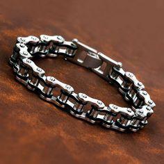 Fashion Men Silver Black Motorcycle'S Chain 316L Stainless Steel Chain Bracelet