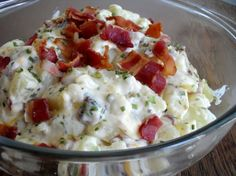 Loaded Baked Potato Salad - Mix ½ cup softened butter, ½ cup sour cream, ½ cup shredded extra sharp cheddar, ¼ cup chopped chives, 8 strips thick cooked crumbled bacon. Fold mixture with 4 large cubed cooked potatoes. Salt and pepper to perfection and serve warm! Reserve some bacon or cheese for the topping.
