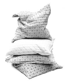 Four Origami Designer Pillow Covers that has a textured, geometric pattern that goes beyond standard two dimensionality into a unique, shape-making Pillow Cover Design, Decorative Pillow Covers, Throw Pillow Covers, Throw Pillows, Accent Pillows, Geometric Cushions, Geometric Pillow, Bed Linen, Linen Bedding