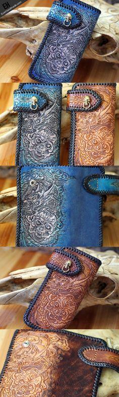 Handmade leather blue brown skull carved biker wallet Long wallet clut | EverHandmade
