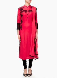 Pink Muslin Cotton Embroidered Straight Suit