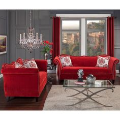 2 pc zaffiro ruby red velvet fabric sofa and love seat set. Sofa and Love seat features a nail head trims , multi color patterned throw pillows. Sofa measures x x H. Love seat measures x x H. Living Room Red, Living Room Bedroom, Living Room Furniture, Living Room Decor, Sofa And Loveseat Set, Bohemian Style Bedrooms, Upholstered Sofa, Foyers, Room Set