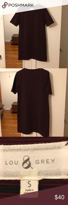 The loft  dress Very nice dress used one time  has two pockets in the front falls above the knee. Beautiful burgundy color. Size smalll retail for 140 Ann Taylor Dresses