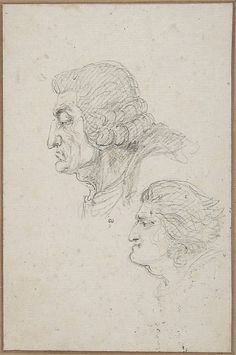 Portraits of Jean-Baptiste-Joseph Gobel (1727-1794), Bishop of Paris in 1792-93, and Pierre-Gaspard Chaumette (1763-1794), Procurator of the Commune in 1792, sketched on the way to the guillotine, April 12, 1794, by Dominique Vivant Denon
