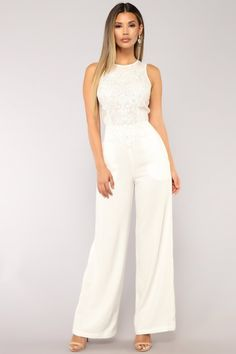 418e78ae6f7d Available in Black and White Wide Leg Jumpsuit Embellished Sheer Top   Sleeveless Hidden Back Zipper Inseam Polyester