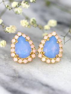 Baby Blue Earrings Blue Opal Earrings Aqua Pink by iloniti on Etsy Gold Bridal Earrings, Opal Earrings, Rose Gold Earrings, Bridesmaid Earrings, Bridal Jewelry, Etsy Jewelry, Jewellery, Diamond Earing, Pink Opal