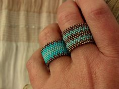 Beaded Ring Turquoise Ring Beaded Ring Band BOHO Ring by ariearts – Schmuck Ideen Diy Jewelry Rings, Beaded Rings, Boho Jewelry, Jewelry Making, Beaded Bracelets, Wire Jewelry, Handmade Rings, Diy Jewelry, Diy Bracelet