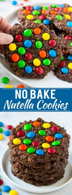 No Bake Nutella Cookies | No Bake Cookie Recipe | M&M's Cookies | Chocolate Oatmeal Cookies