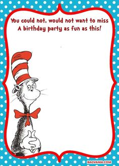 Get FREE Printable drSeuss Cat in the Hat Invitation Template