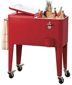Sunjoy Group Intl Pte L-BC153PST Beverage Cooler Cart, With Wheels, Red Steel, 60-Qts.