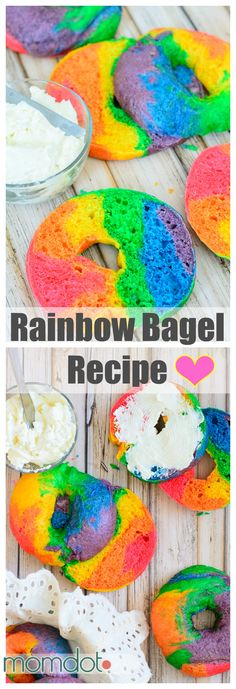 Rainbow Bagel Recipe that will blow your kids mind in the morning. Create Melted Rainbow bagels with Rainbow Treats, Rainbow Food, Taste The Rainbow, Rainbow Baking, Rainbow Desserts, Rainbow Kitchen, Rainbow Things, Kids Rainbow, Rainbow Dash