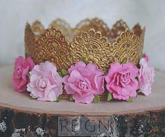PINK ENZA CROWN, pink flower crown, princess crown, baby gold crown, tiny flower crown, lace gold crown