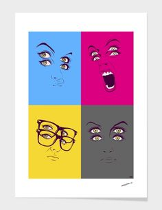 """""""cmyk faces compilation"""" - Limited Edition Print by CranioDsgn for Curioos"""