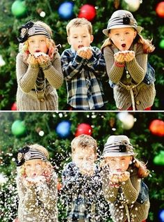 Ideas for holiday card photos: snow confetti