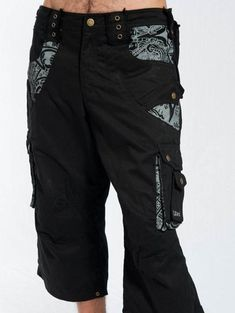 Cyberpunk Pants Psy Trance Goa Clothing Psychedelic | Etsy Festival Shorts, Festival Outfits, Festival Clothing, Rave Shorts, Cargo Pants Men, Man Pants, Burning Man Outfits, Badass Style