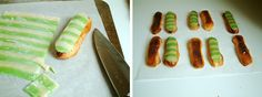 PISTACHIO ECLAIR. 1. Choux Pastry, 2. Pistachio Mousseline Cream, 3. Marzipan (after making it, colour half in green for decorating the shells).