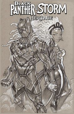 "Black Panther & Storm ""Heritage"": In this alternate timeline, Ororo and T'Challa's continued marriage successfully form a loving b. Black Panther Marvel, Black Panther Storm, Black Panther Art, Black Anime Characters, Comic Book Characters, Comic Character, Comic Books Art, Book Art, X Men"