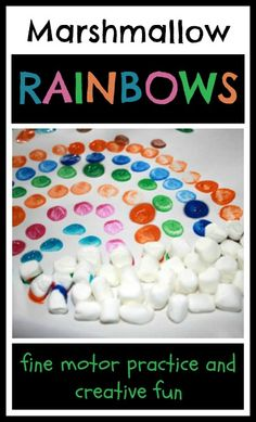 Painting Rainbows with Marshmallows - Explore colors, gain fine motor skills, and express creativity with this open ended paint project.