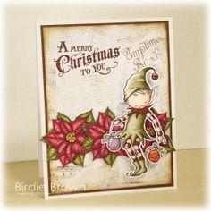 Digital stamp Christmas Elf by BirdieBrown on Etsy